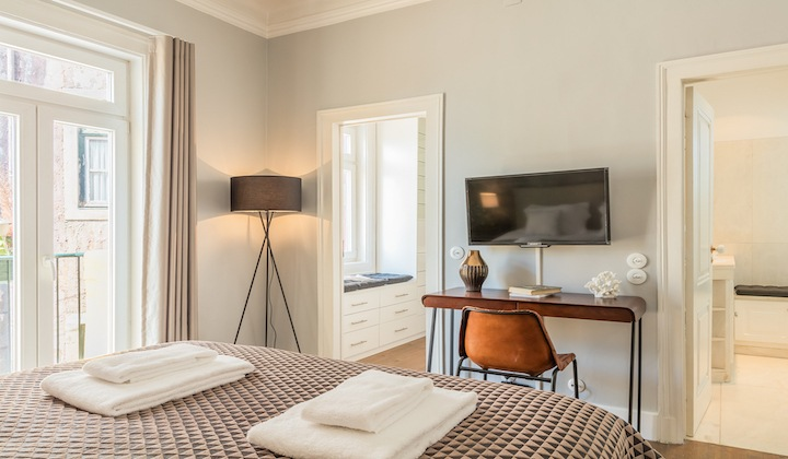 Elegant and big bedroom with double bed