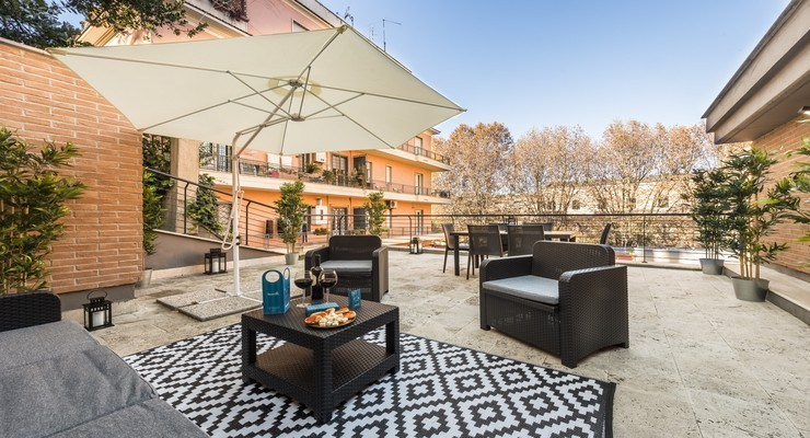 Upper floor is an open area perfect for your sightseeing. This furnished rooftop comes with a cozy living area that will surely make you feel relaxed.